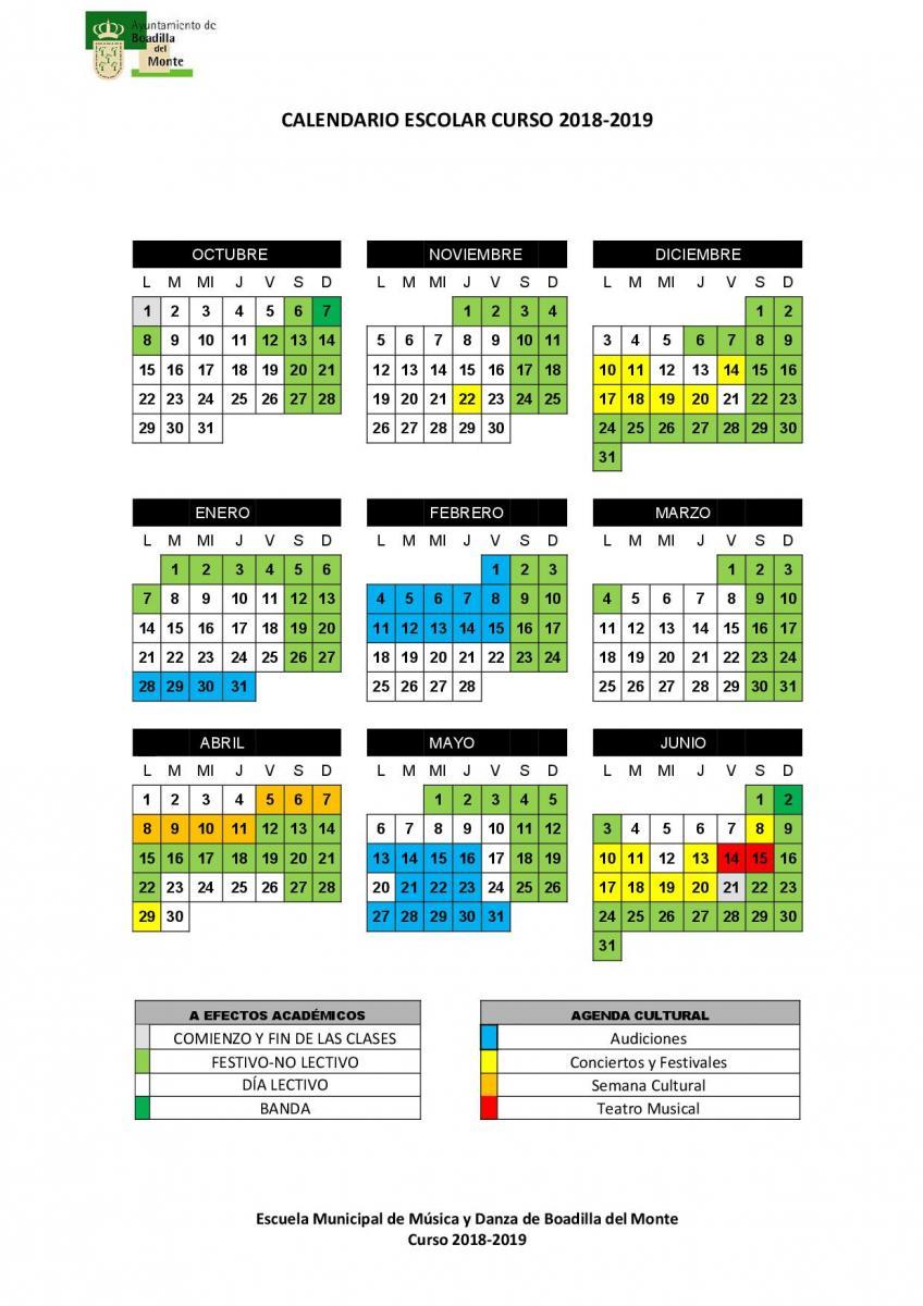 Calendario Escolar 1819.Calendario Escolar Ayuntamiento De Boadilla Del Monte